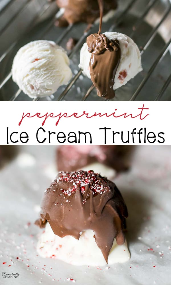 Festive Peppermint Ice Cream Truffles are an easy to make holiday dessert! These are the perfect Christmas treat. Peppermint Ice Cream covered in chocolate with crushed candy canes on top.