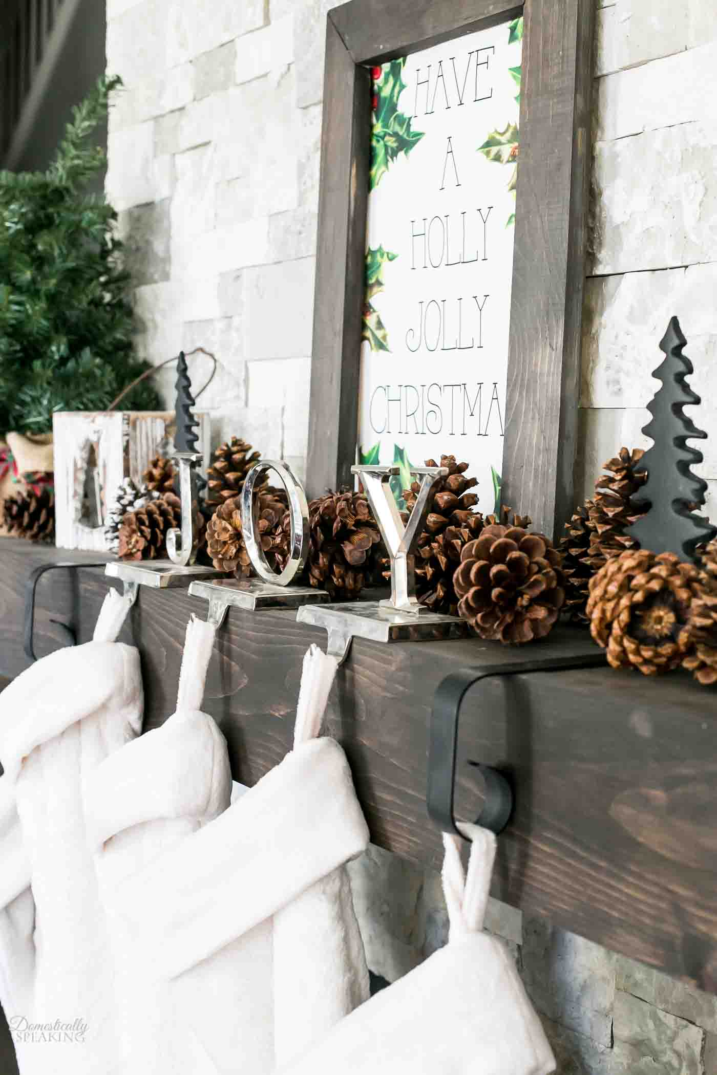 Rustic Christmas Mantel Domestically Speaking