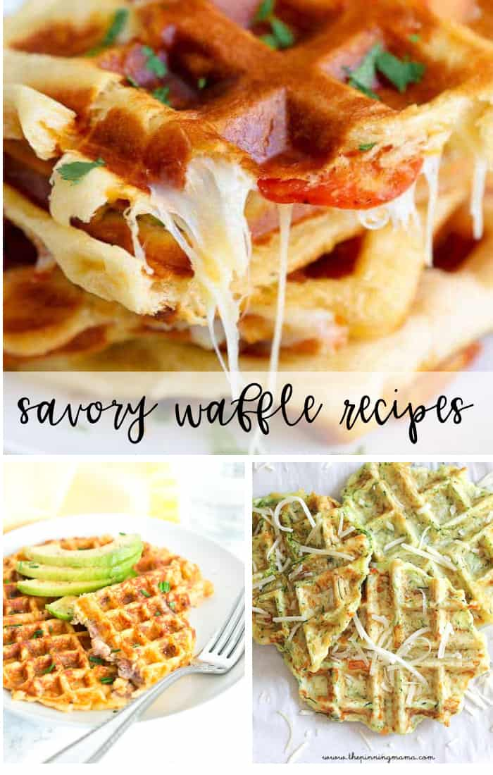 Savory Waffle Recipes that are perfect for any time of the day - pizza waffles, stuffed breakfast waffles and more.