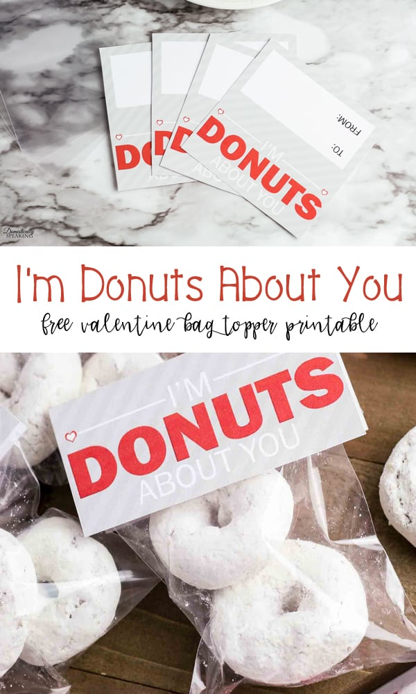 DIY Donut Valentine Printable Bag Topper - make your own with this cute freebie!