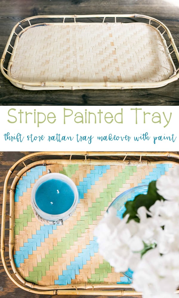 Rattan Thrift Store Stripe Painted Tray - a great DIY for spring!