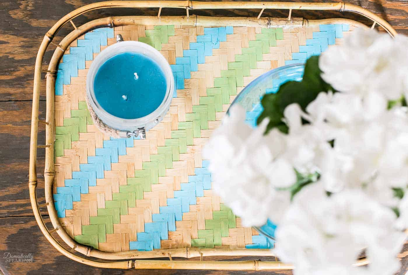 Thrift Store Rattan Stripe Painted Tray in blue and green.