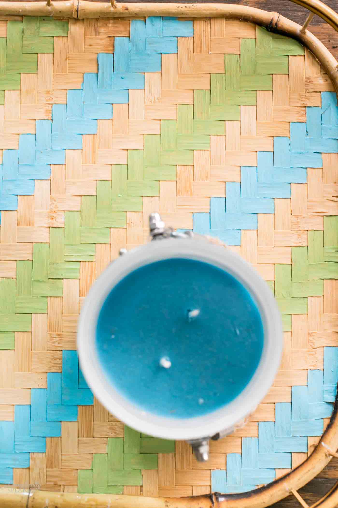 Green and Blue Stripe Painted Tray - taking a thrift store rattan tray to a new life.