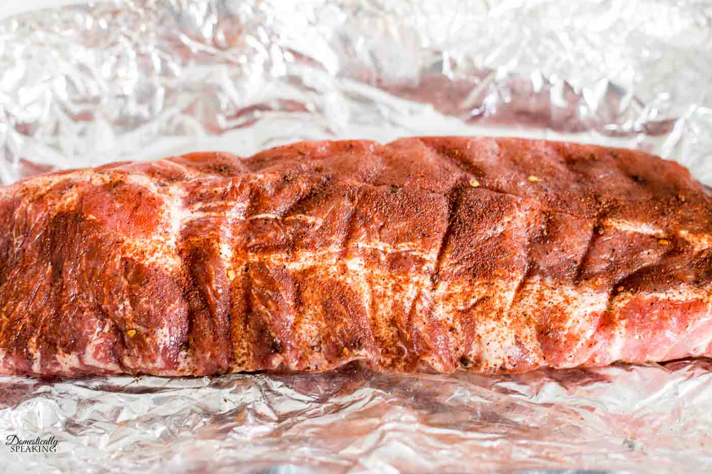 Baby Back Ribs after 12+ hours with Spicy Rub, ready for the pressure cooker.