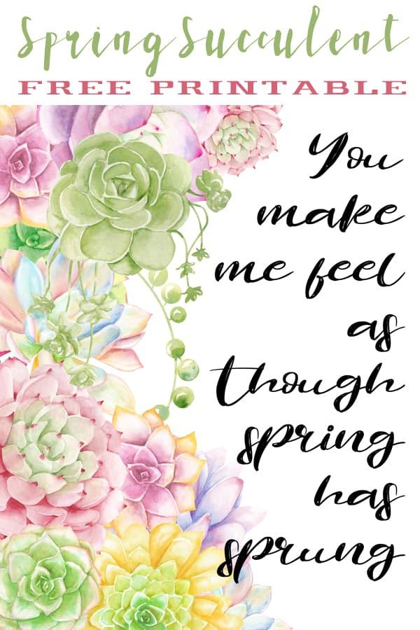 spring succulent printable