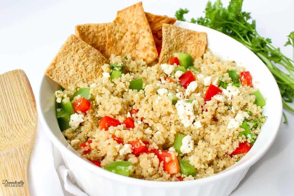 quinoa salad with pita chips