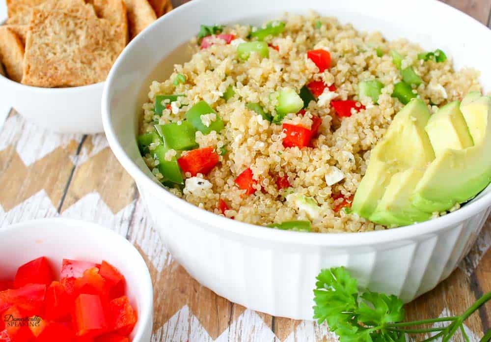 quinoa salad with avocados.
