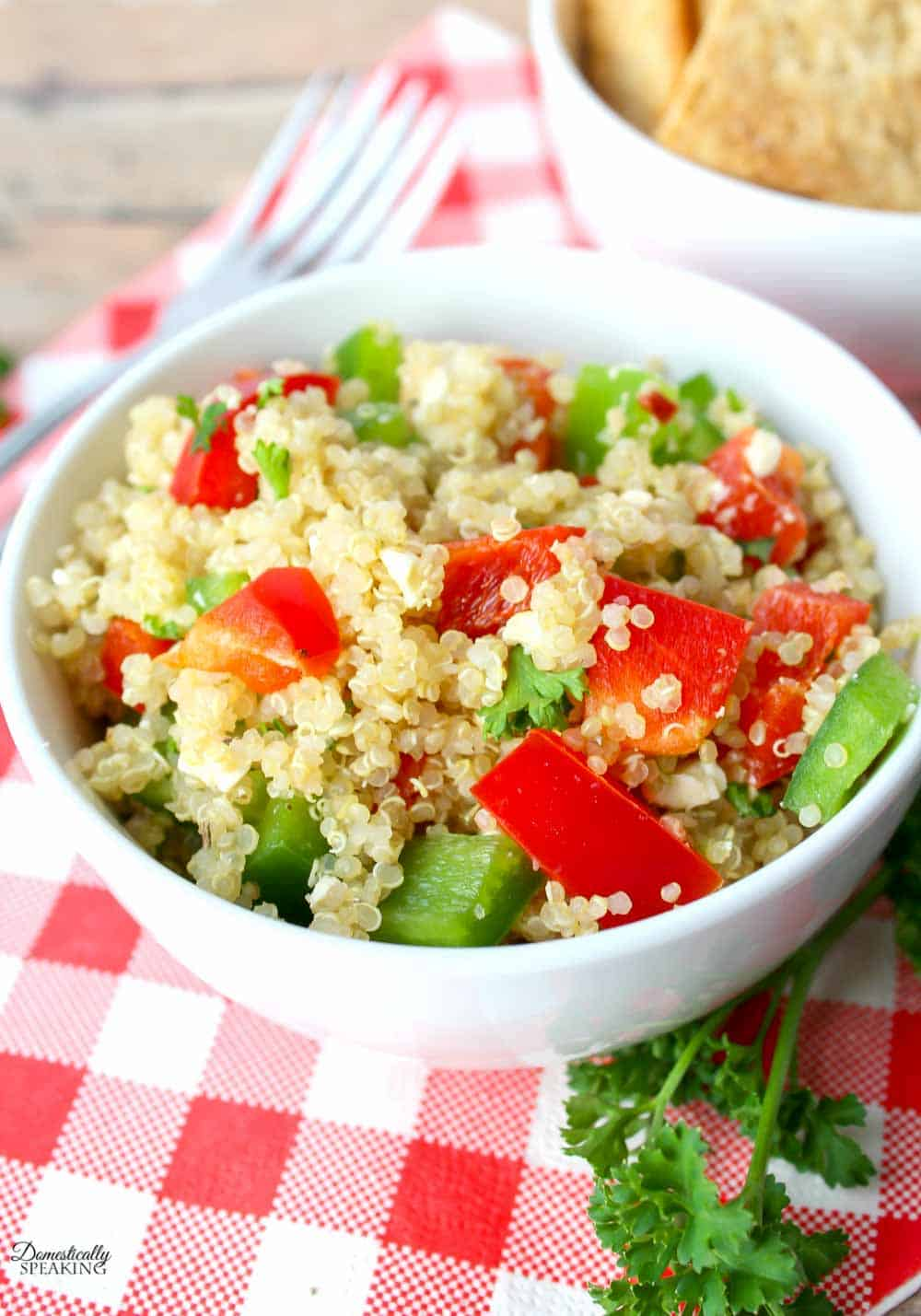 Quinoa Salad with peppers in a bowl.