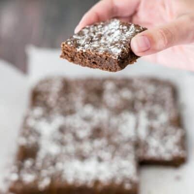 Chewy brownie recipe slice.