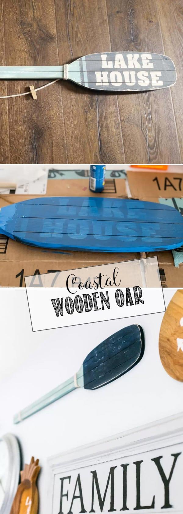 DIY Coastal Wooden Oar from a thrift store Lake House oar.
