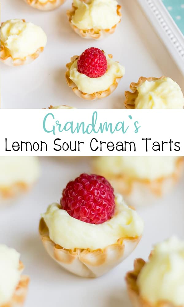 Grandma's Lemon Sour Cream Tarts - perfect dessert for warmer weather with phyllo dough mini tarts filled with creamy lemon sour cream and topped with your favorite berries.