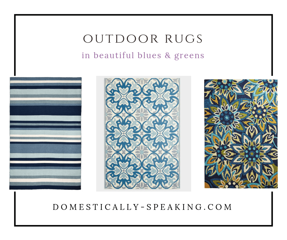 Beautiful Outdoor Rugs in Blue and Green Tones