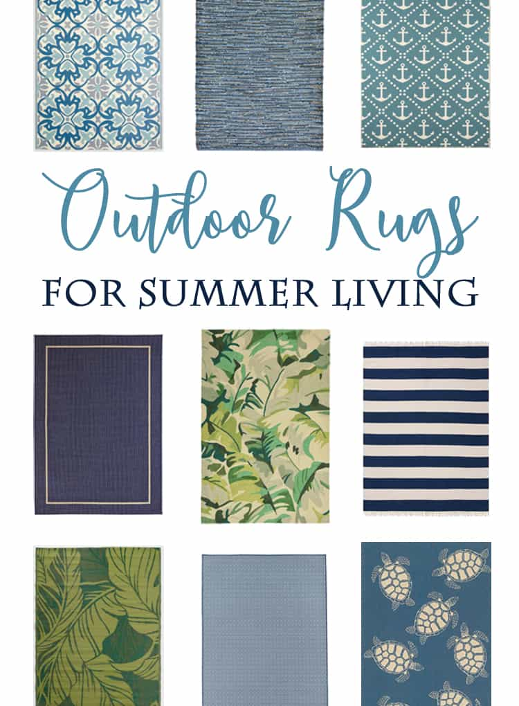 Outdoor Rugs in Blues and Greens