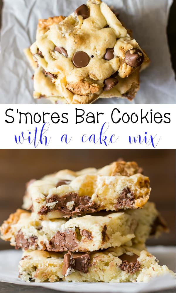 Smores Cake Mix Bar Cookies are a summer favorite - S'mores Bar Cookies made with a cake mix, chocolate chips, mini marshmallows, graham crackers.