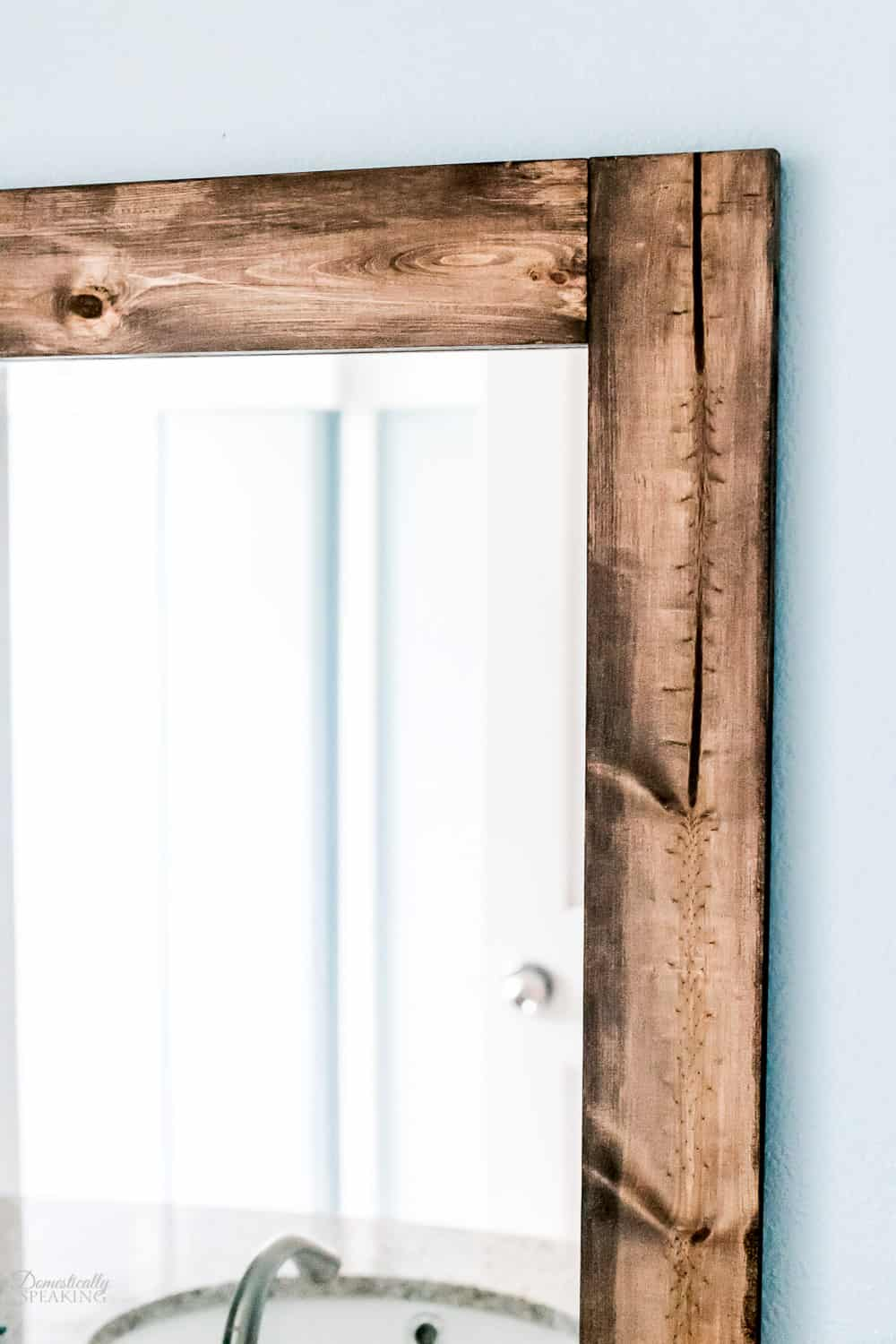 Rustic details on the DIY Wood Mirror