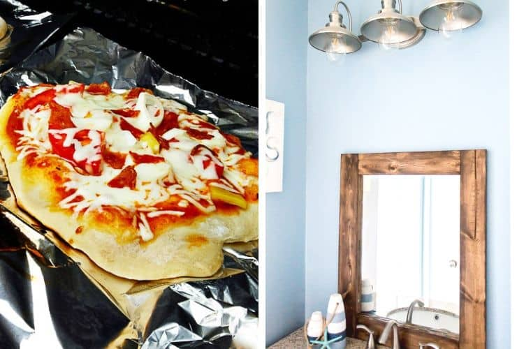 How to Make Grilled Pizza and a DIY Rustic Bathroom Mirror