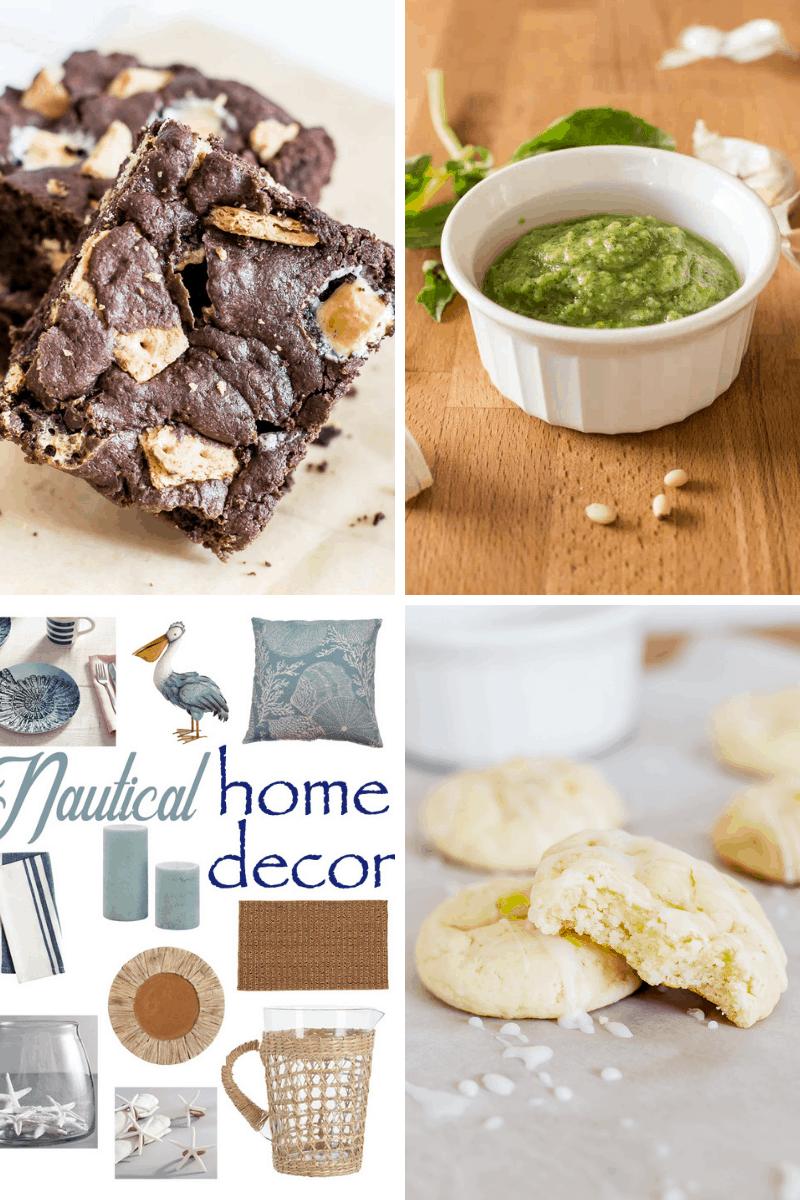 Smores Cake Brownies, Pesto Sauce, Nautical Home Decor and Lemon Cream Cheese Cookies