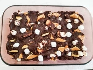 Smores Cake Brownies ready for baking.