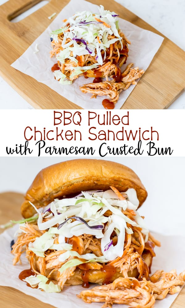 The easiest and best Pulled BBQ Chicken Sandwich served on a Parmesan Crusted Bun! It's so easy to make using leftover chicken and holds it's shape and gets great flavor with the Parmesan Crusted Bun.