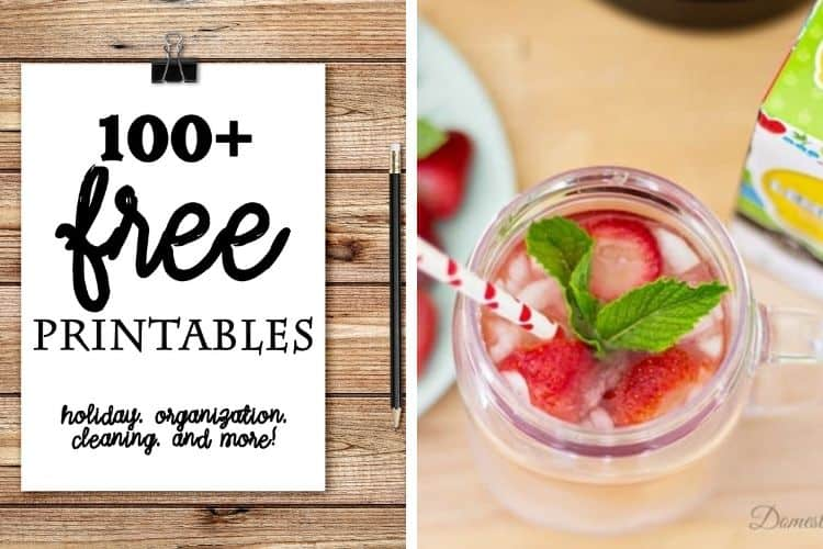 100 plus FREE Printables plus Strawberry Mint Lemonade