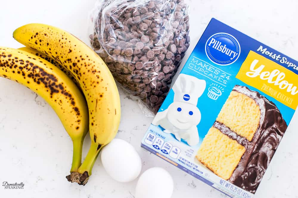 Ingredients for Cake Mix Chocolate Chip Banana Bread