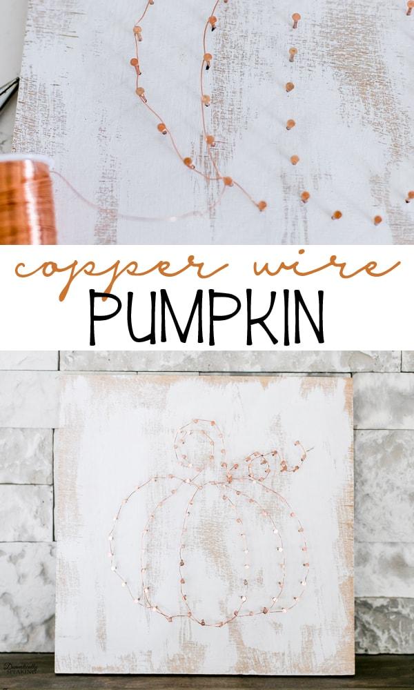 Copper Wire Pumpkin Art - so cute for neutral fall decor