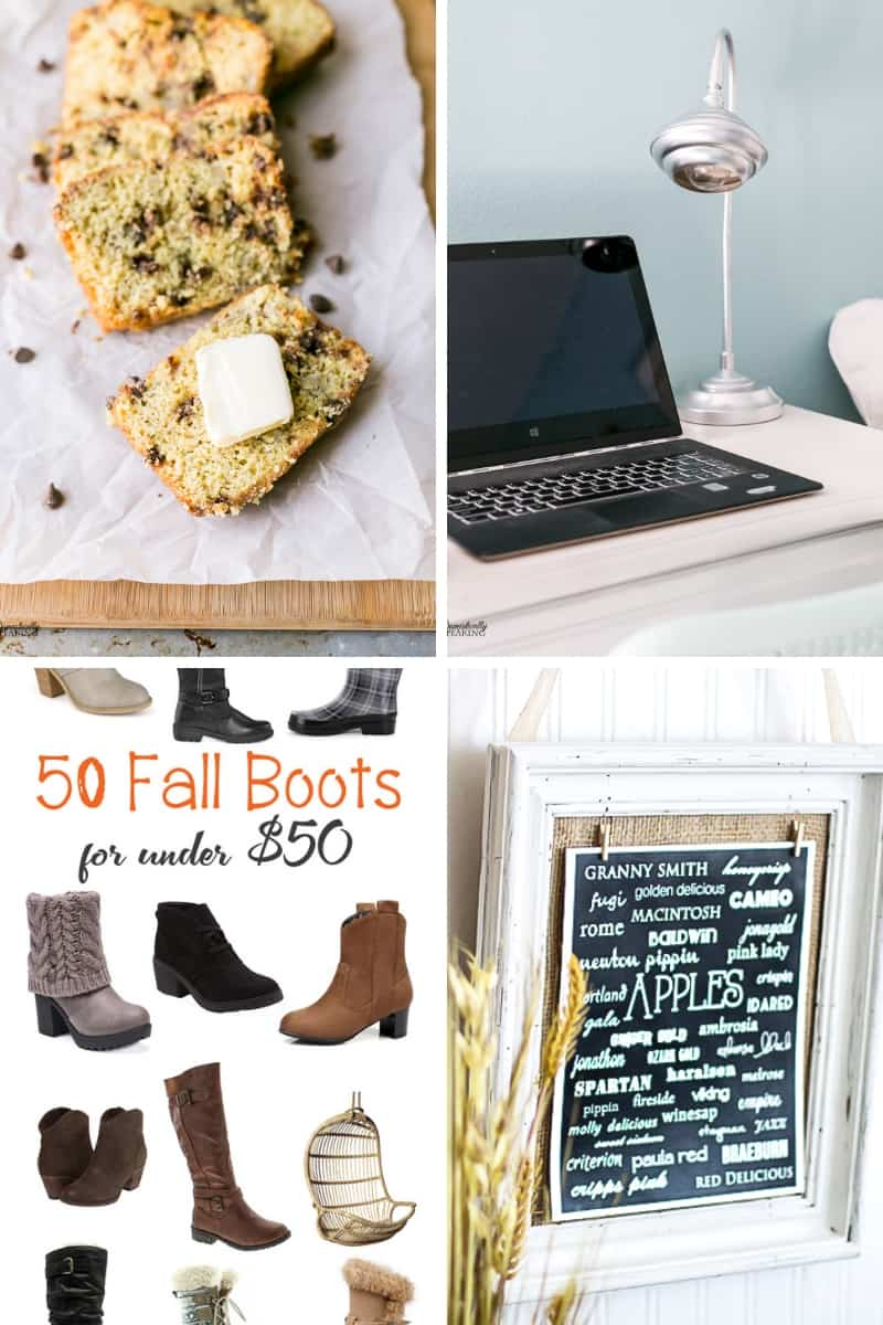 Chocolate Chip Banana Bread, Chrome Desk Lamp, Fall Boots, and Apple Variety Printable