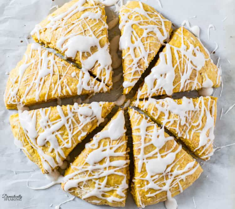 Pumpkin scones drizzled with cinnamon icing.