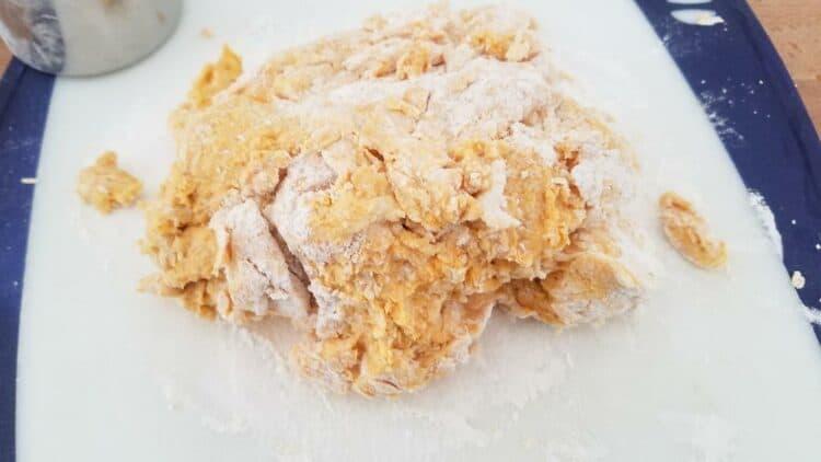 Forming the pumpkin scones.