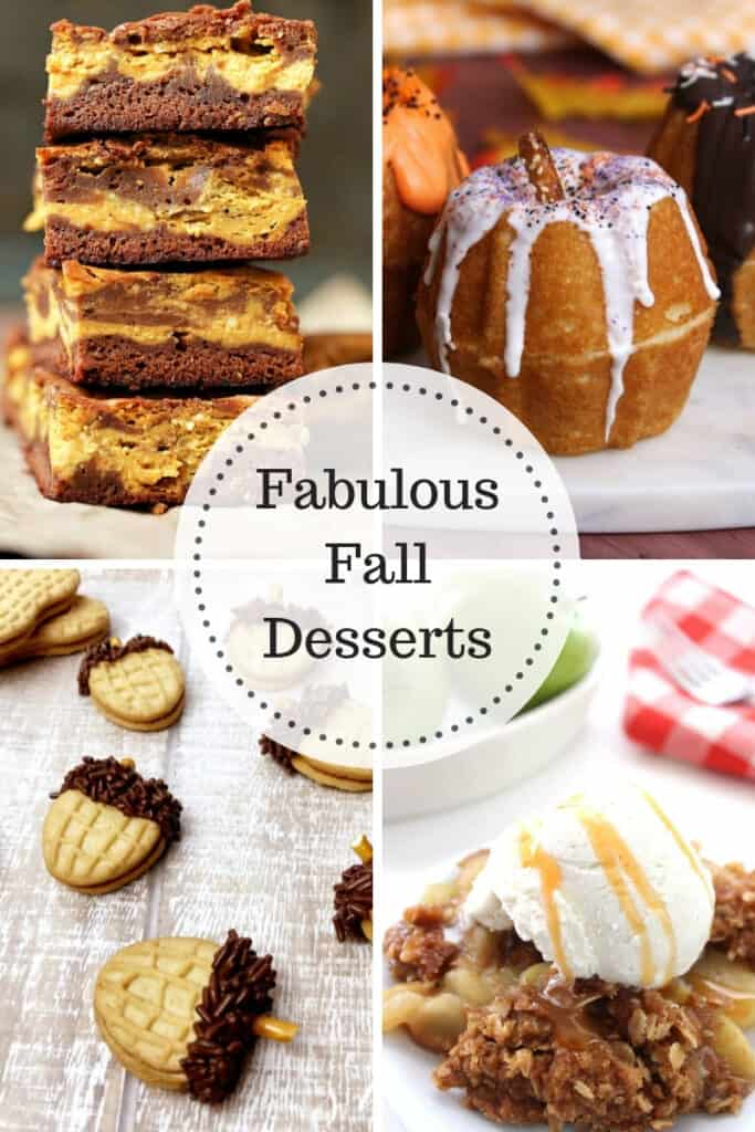 Fabulous Fall Desserts - Pumpkin Cheesecake Bars, Pumpkin Bundt Cakes, Acorn Cookies and Apple Crisp