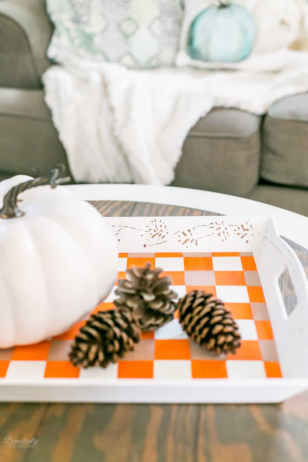 DIY Fall Buffalo Check Thrift Store Tray