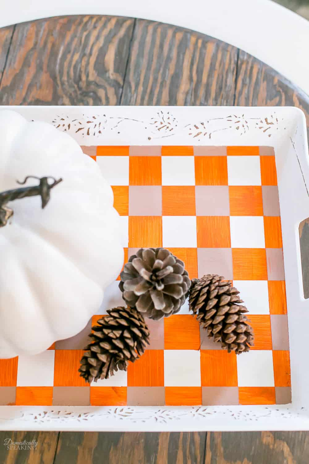 Buffalo Check Fall Tray with white, oranges, and gray on a thrift store tray.