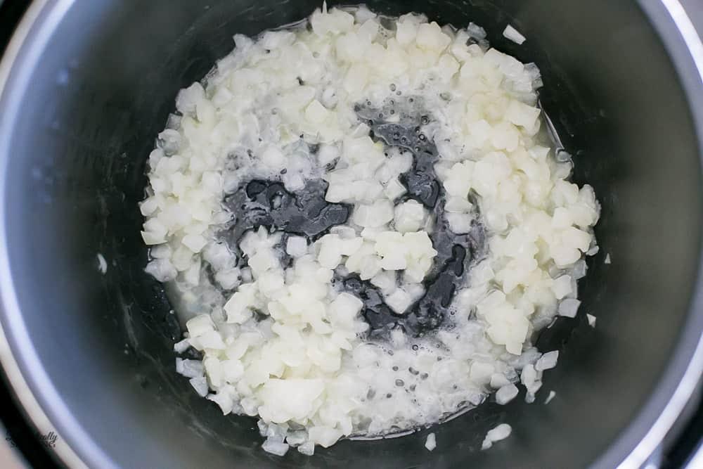 Sautéing onions in an instant pot.