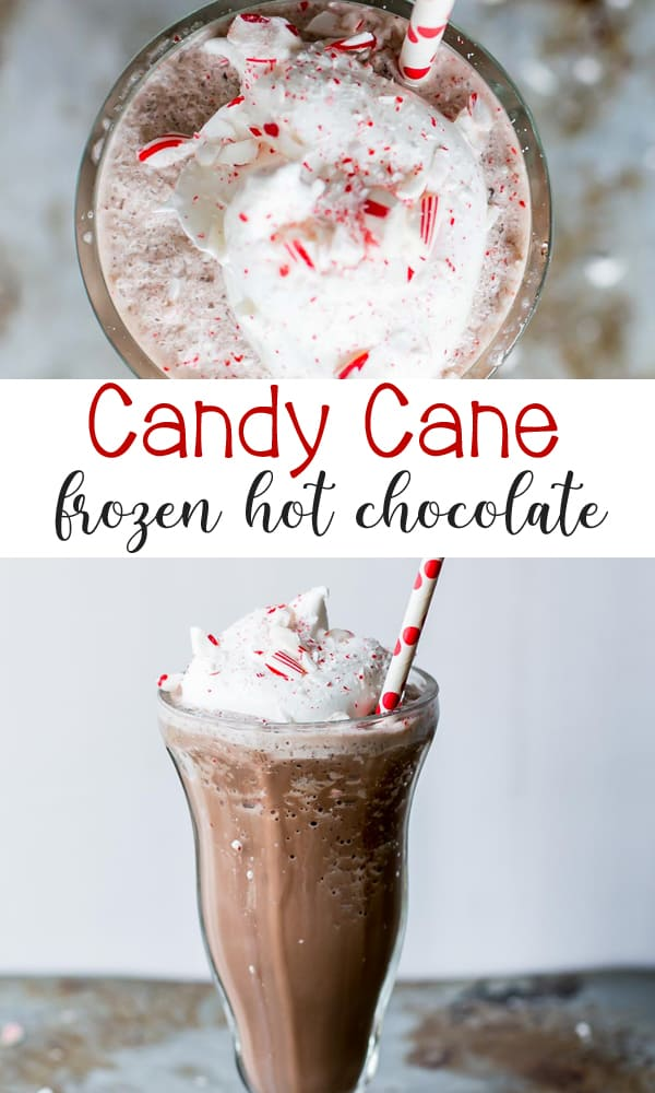 Candy Cane Frozen Hot Chocolate are the perfect holiday drink!
