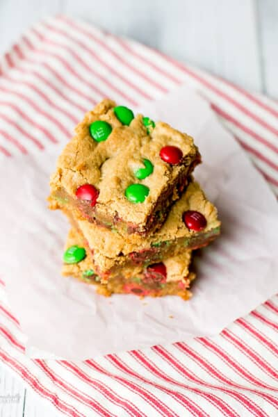 Christmas M&M Peanut Butter Bar Cookies