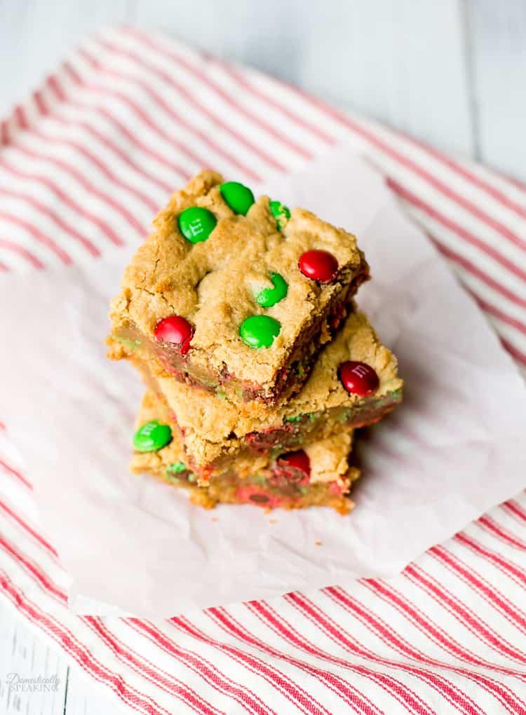 Christmas M&M Peanut Butter Bar Cookies