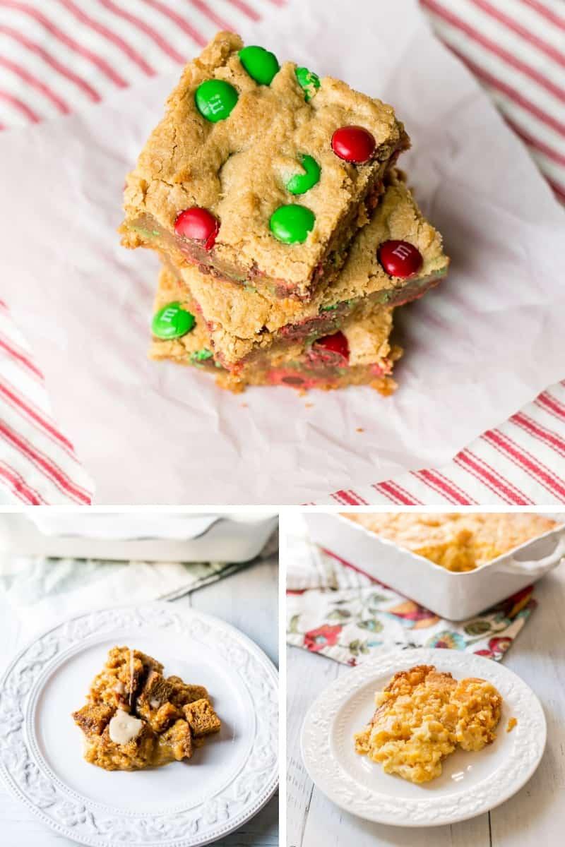 Christmas M&M Peanut Butter Bar Cookies, Pumpkin Spice Bread Pudding, Corn Casserole