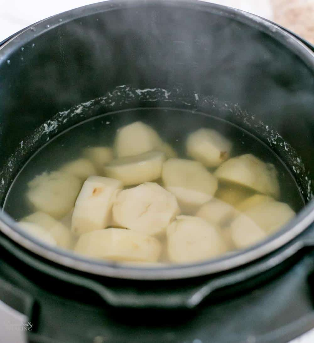 Potatoes after steamed in pressure cooker.