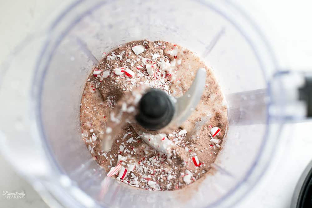 Crushed up candy cane, milk, hot chocolate mix, and ice in a blender.