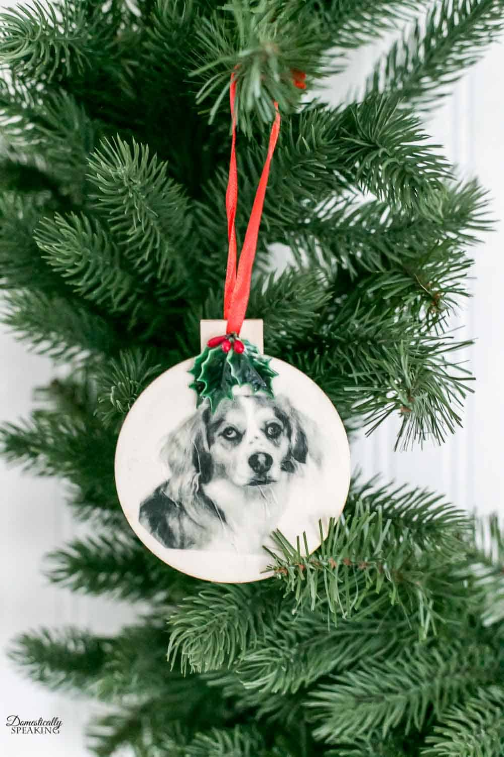 Our dog Ona's image printed on tissue paper to create a Christmas ornament.
