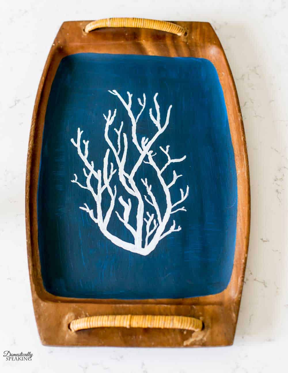 Navy Coral Painted Tray