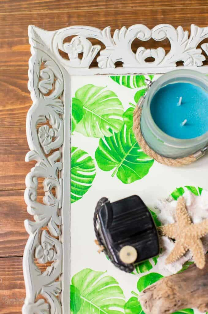 Decoupage a thrift store tray to create this Tropical Tray so fun for the summer months!