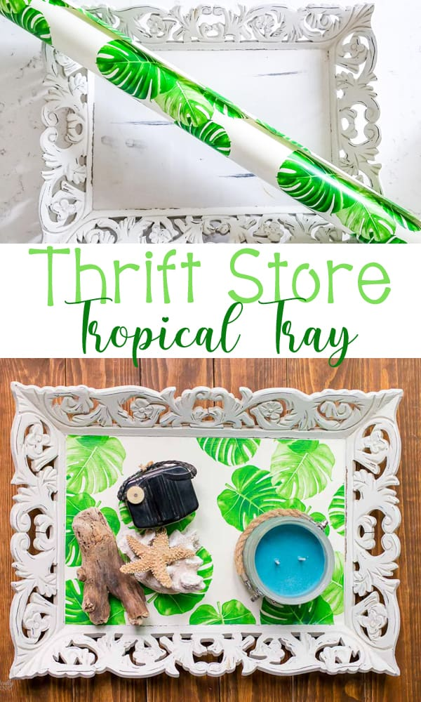 A thrift store tray gets a cute makeover using some fun tropical wrapping paper.