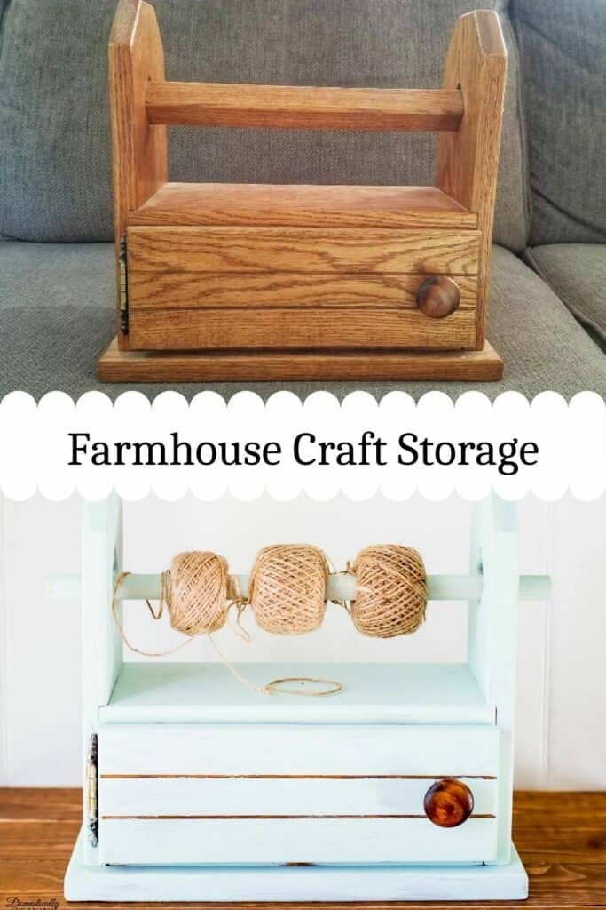 Farmhouse Craft Storage - this $1 thrift store find makes the cute twine storage with some milk paint.