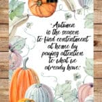 Autumn Pumpkin Watercolor Printable