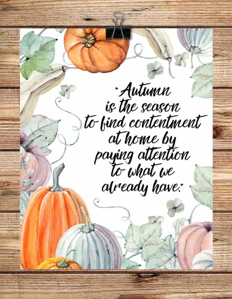Autumn Pumpkin Watercolor Printable