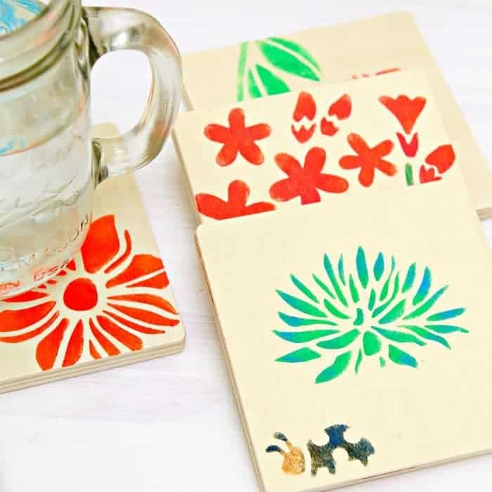 Stencil-colorful-floral-designs-on-wood-coasters_thumb