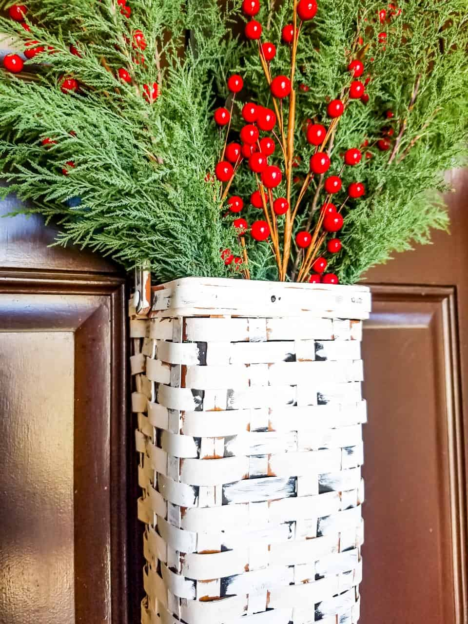 thrift store painted christmas front door basket