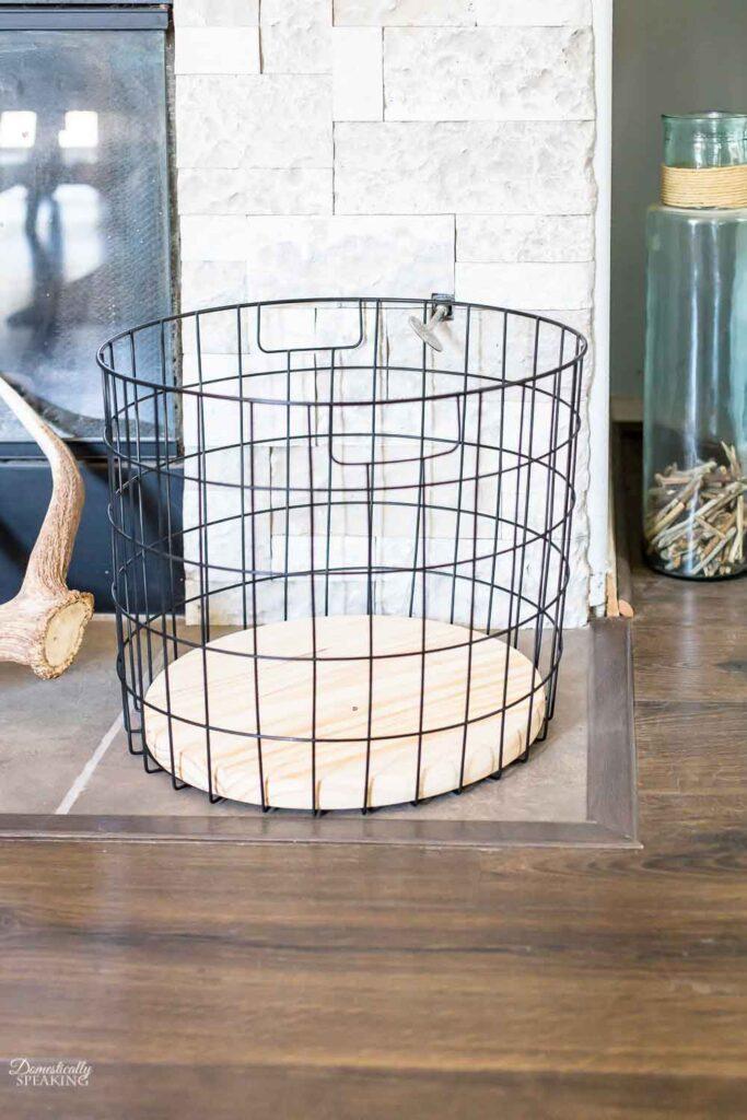 Black Matte and Wood Basket