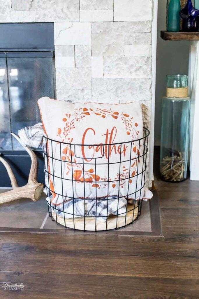 Large Farmhouse Metal Basket